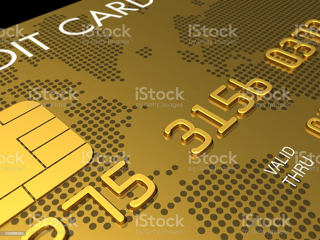 Gold credit card, macro 3D render stock photo