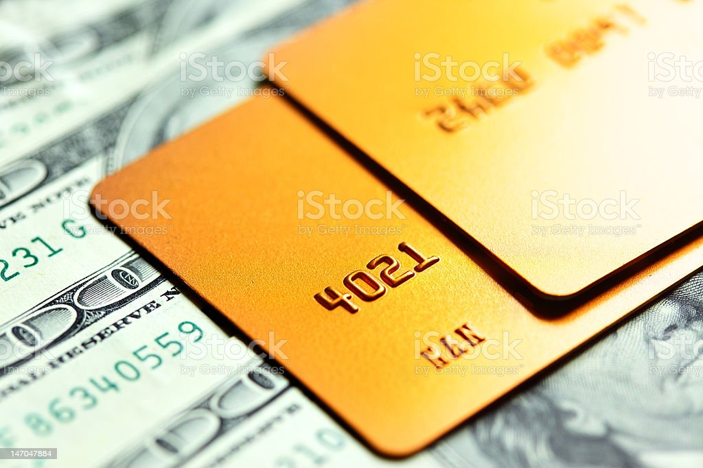 Gold credit cards stock photo