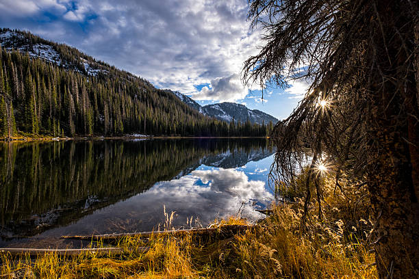 Gold Creek Lake Mountain Landscape Gold Creek Lake Mountain Landscape - Scenic landscape at sunset in the Mount Zirkel Wilderness Area.  Steamboat Springs, Colorado USA. steamboat springs stock pictures, royalty-free photos & images