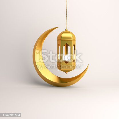 1130047135istockphoto Gold crescent moon and arabic hanging lamp on white background studio lighting. 1142531594
