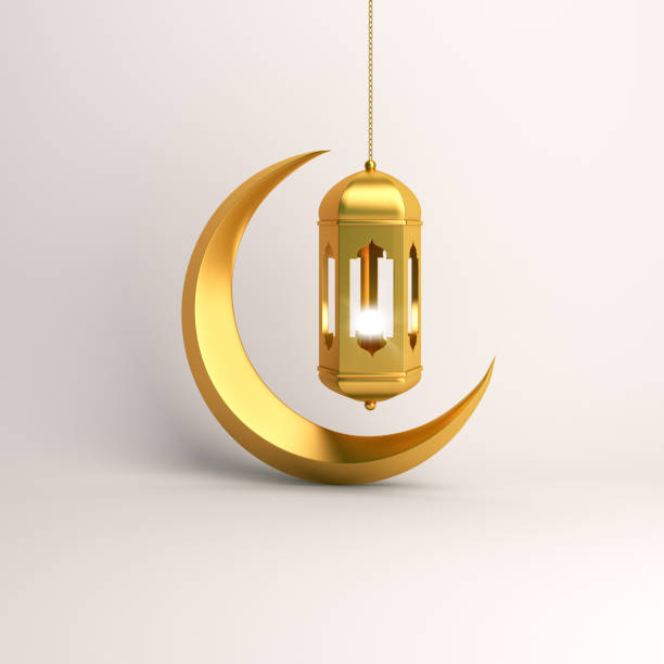 gold crescent moon and arabic hanging lamp on white background studio lighting. - eid stock pictures, royalty-free photos & images