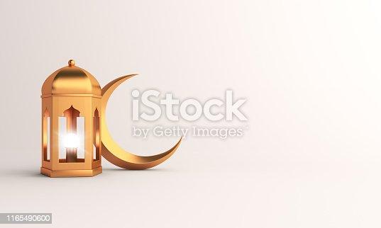 istock Gold crescent moon and arabic lantern on white background studio lighting. 1165490600