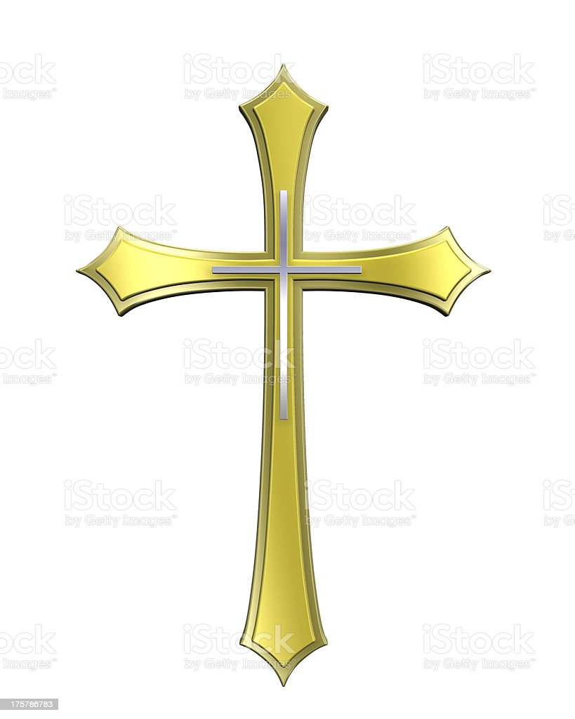Gold cross isolated on white stock photo