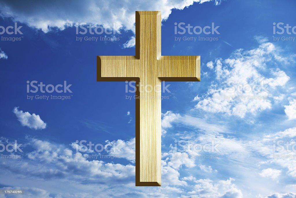 gold cross on heaven royalty-free stock photo