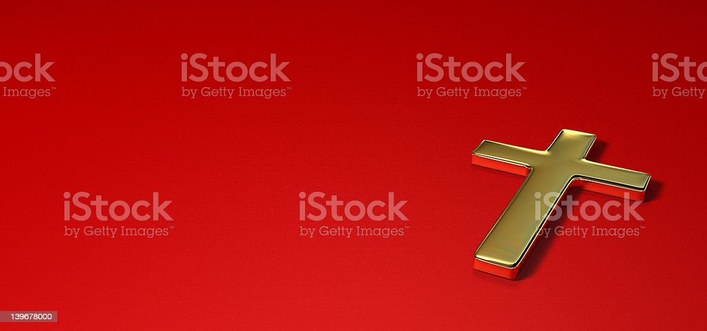 Gold cross on red background royalty-free stock photo