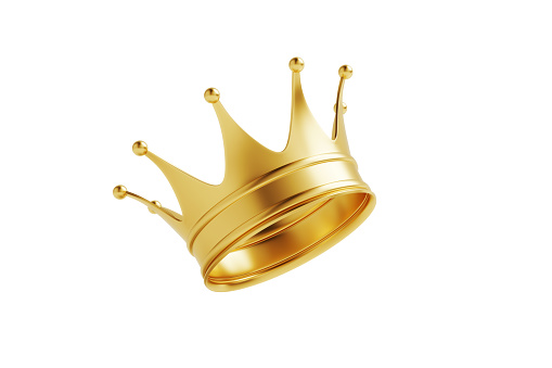 Gold crown isolated on white background. Horizontal composition with clipping path and copy space. Luxury and award concept.