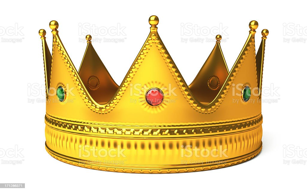 Gold Crown Isolated On White stock photo