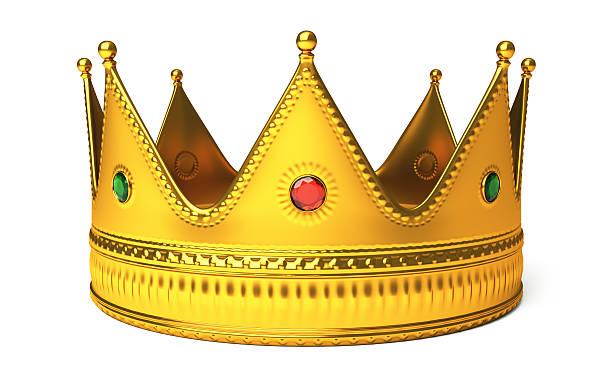 goldene krone, isoliert auf weiss - könig stock-fotos und bilder