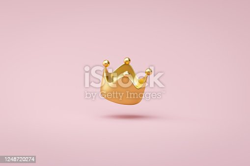 Gold crown on pink background with victory or success concept. Luxury prince crown for decoration. 3D rendering.