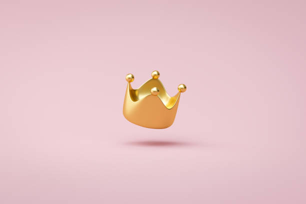 Gold crown on pink background with victory or success concept. Luxury prince crown for decoration. 3D rendering. stock photo