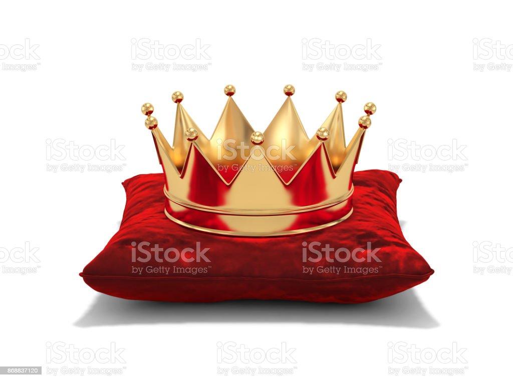 Goldene Krone auf rotem Samt Kissen - Lizenzfrei Auszeichnung Stock-Foto