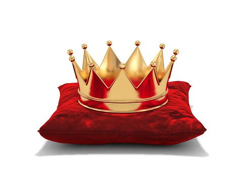 Goldene Krone Auf Rotem Samt Kissen Stockfoto und mehr Bilder von Auszeichnung