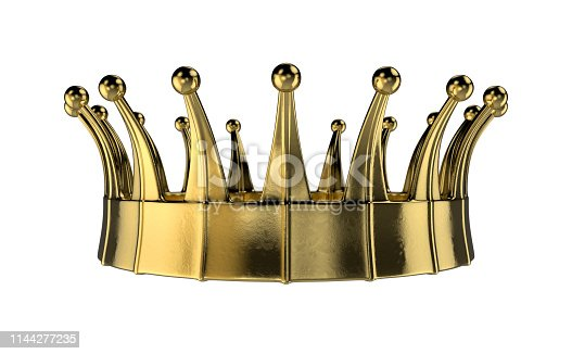 Computer generated gold crown rendered in 3d with depth of field.