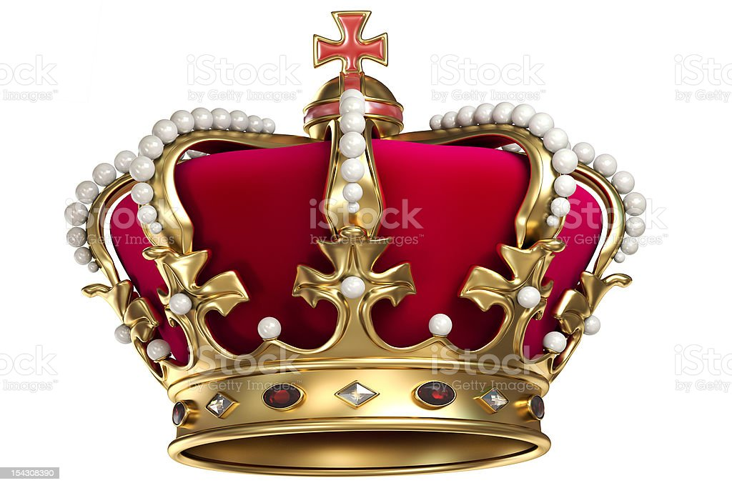 Gold crown with gems stock photo
