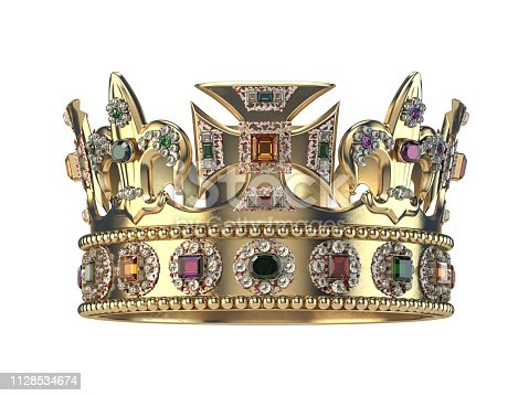 istock Gold crown with jewels isolated on white. 1128534674