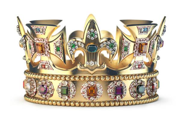 Goldkrone mit Juwelen, die auf Weiß isoliert sind. – Foto