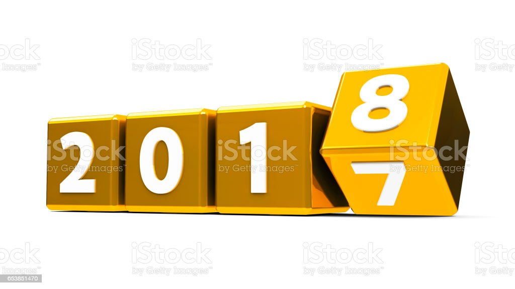 Gold cubes 2018 stock photo