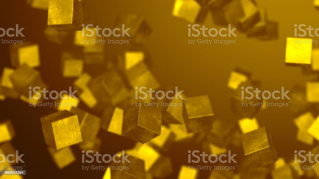 Gold Cubes Background stock photo