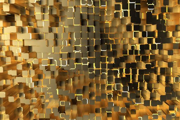 Cubes d'or avec la lumière, fond Abstrait, 3D rendent l'illustration - Photo