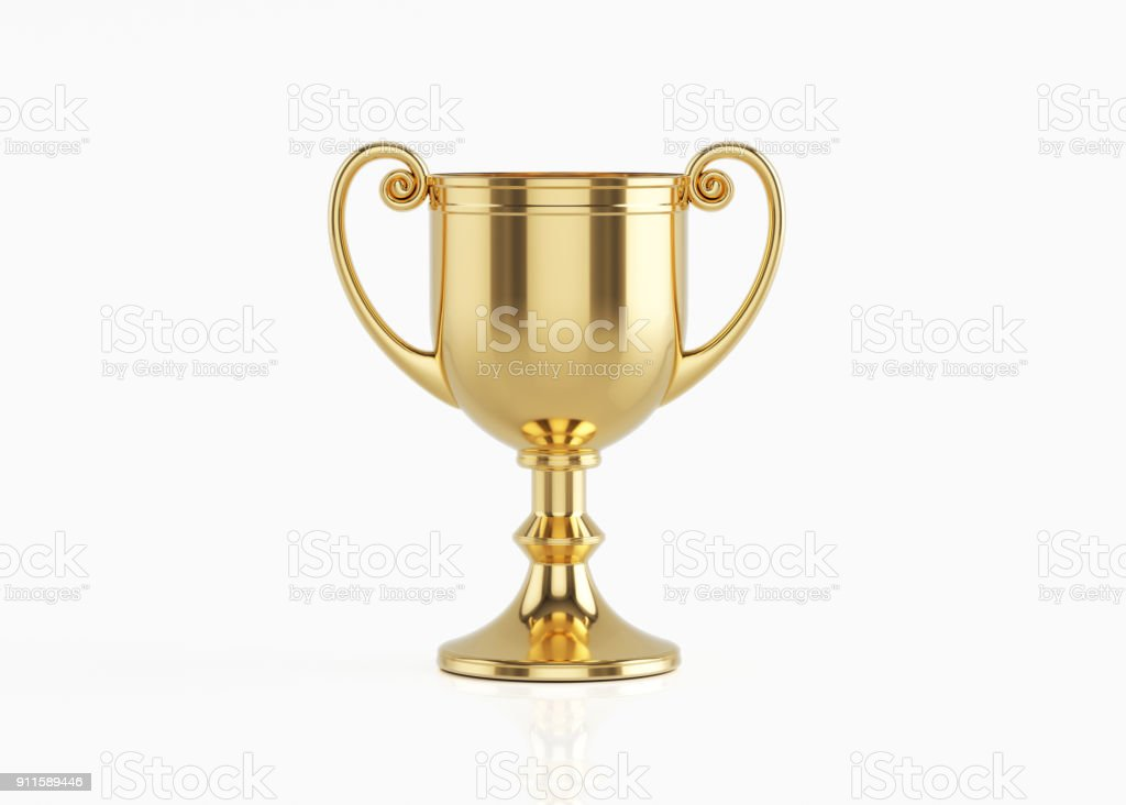 Gold Cup Isolated On White Background stock photo