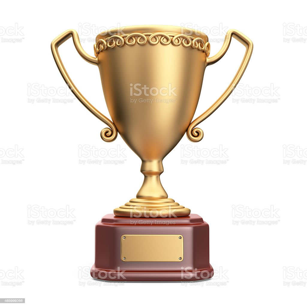 Gold cup winner trophy. 3D Icon isolated on white background stock photo