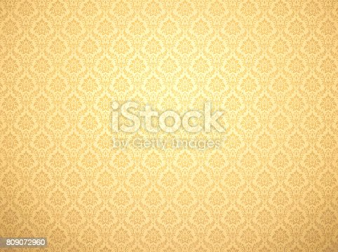 istock Gold damask pattern background 809072960