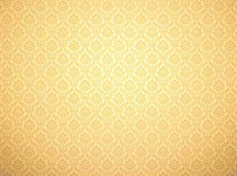 Golden damask wallpaper with floral patterns