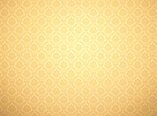 Gold damask pattern background stock photo
