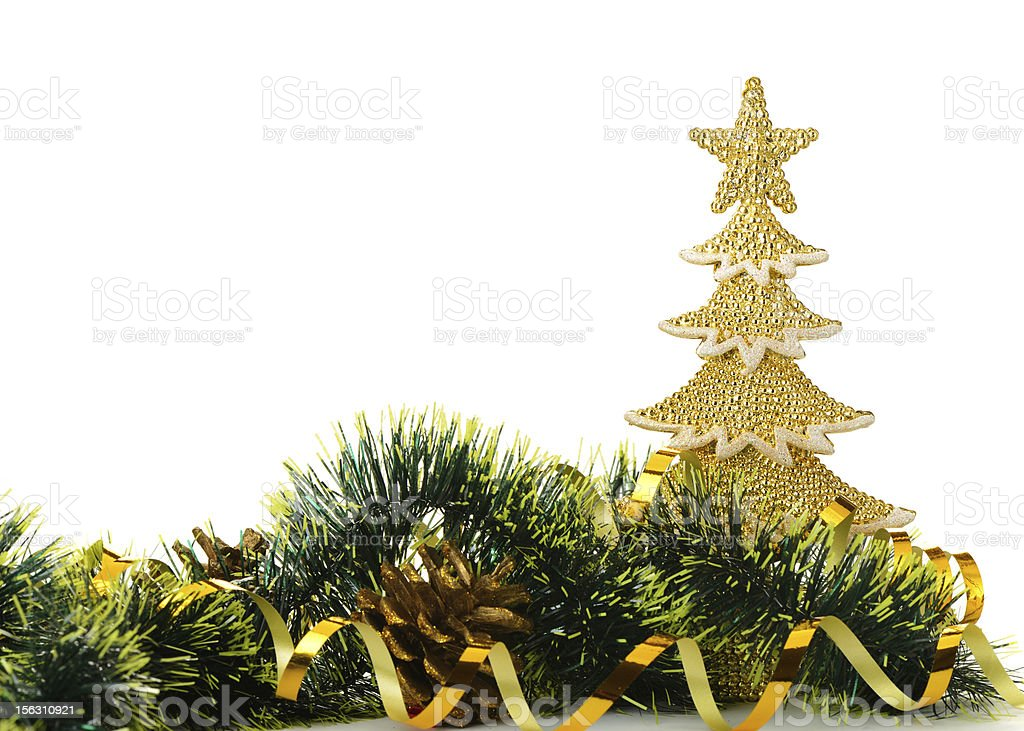 gold decorated Christmas trees and holiday object royalty-free stock photo