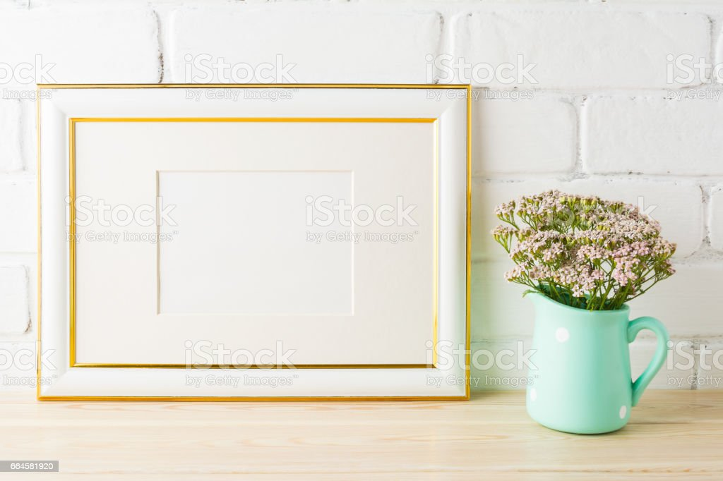 Gold Decorated Landscape Frame Mockup Soft Pink Flowers In Pitcher ...