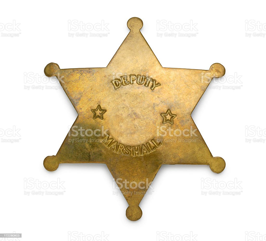 Gold Deputy Marshal Badge Isolated On White Background stock photo