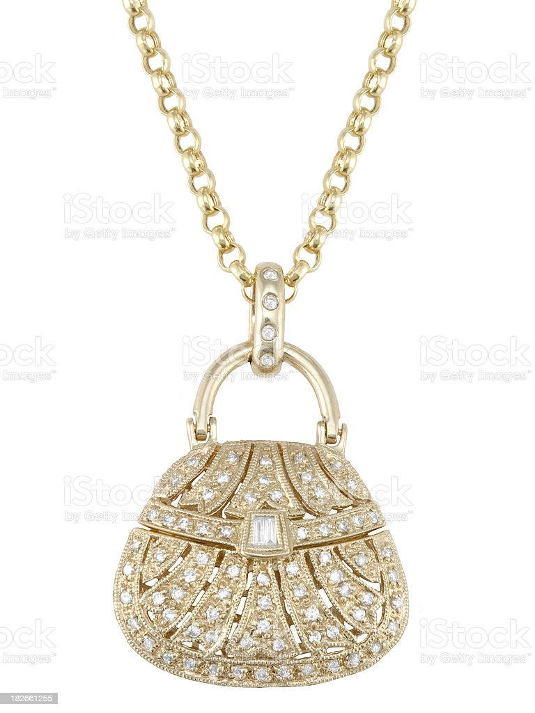 Gold & Diamond Purse Pendant royalty-free stock photo