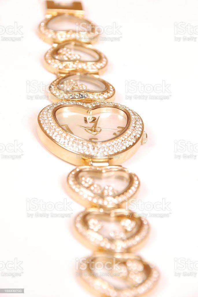 Gold Diamond Watch stock photo