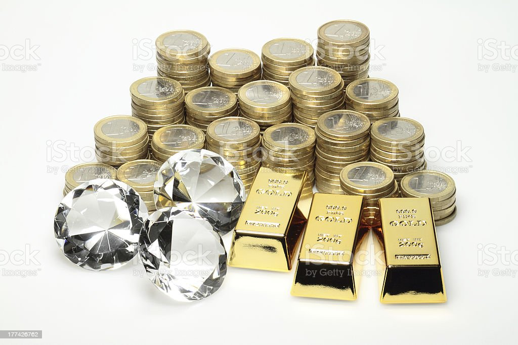 Gold, diamonds, euro coins stock photo