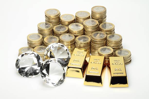 Gold, diamonds, euro coins stock photo