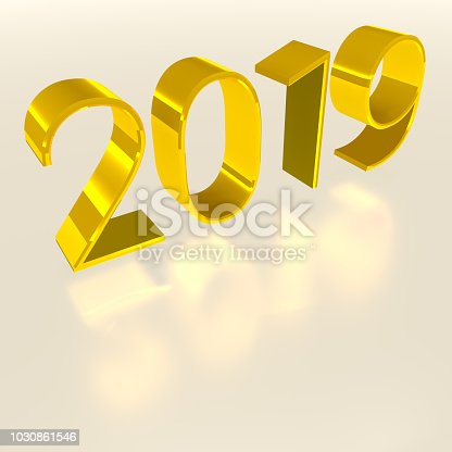 968131582istockphoto Gold digits of year 2019 on gray background. Three-dimensional rendering. 3D 1030861546