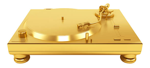 3D Gold DJ Turntable Silver stock photo