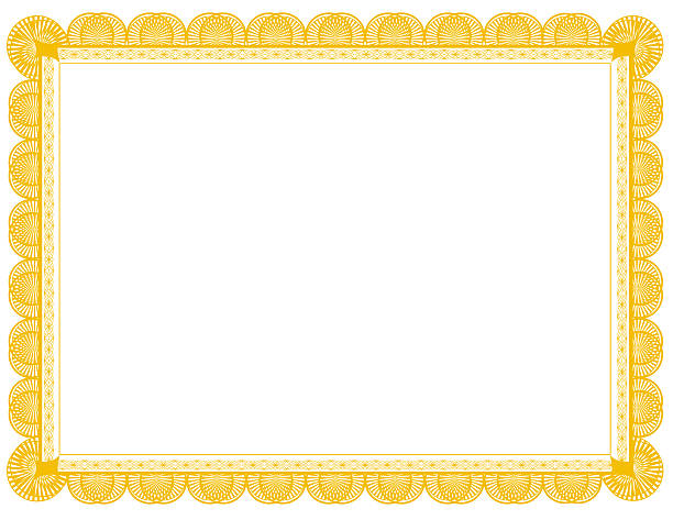 gold document frame 8.5 x 11 - certificate stock photos and pictures