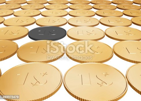 istock gold dollar coin carpet on white background 493373479