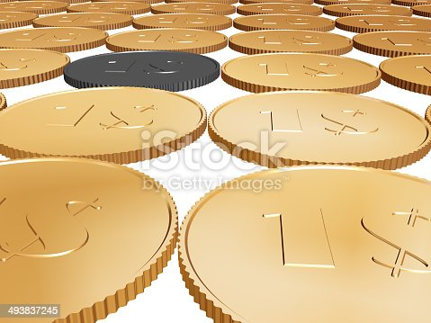 istock gold dollar coin carpet on white background 493837245