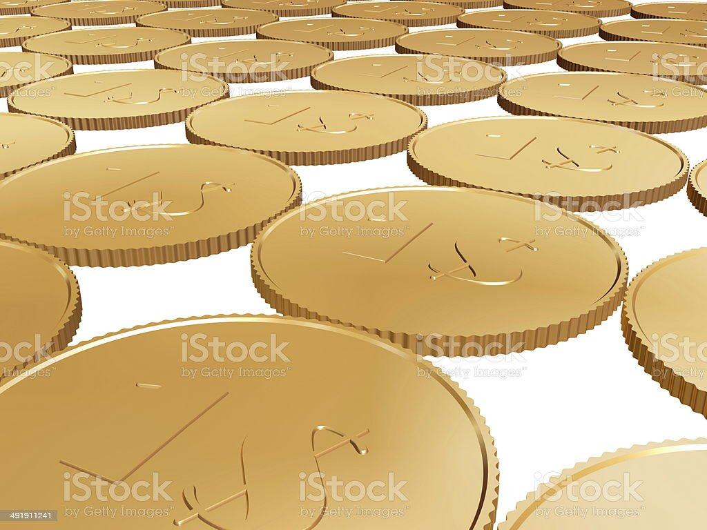 gold dollar coin carpet on white royalty-free stock photo
