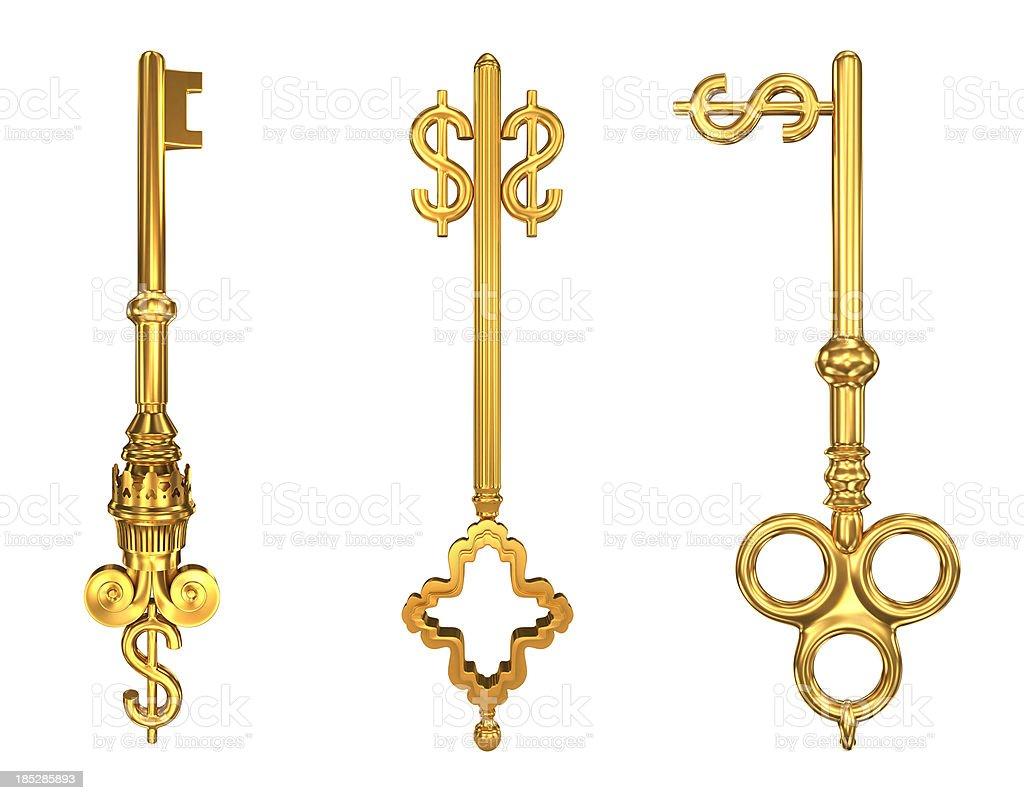 Gold dollar key stock photo