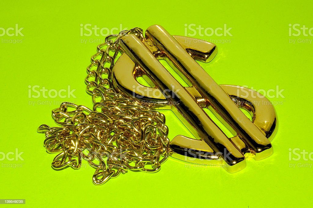 Gold Dollar Necklace royalty-free stock photo