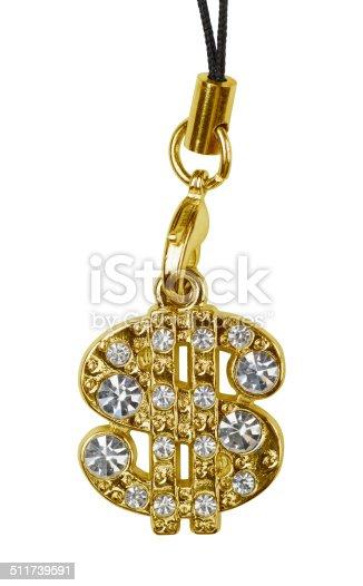 Gold dollar pendant isolated on white