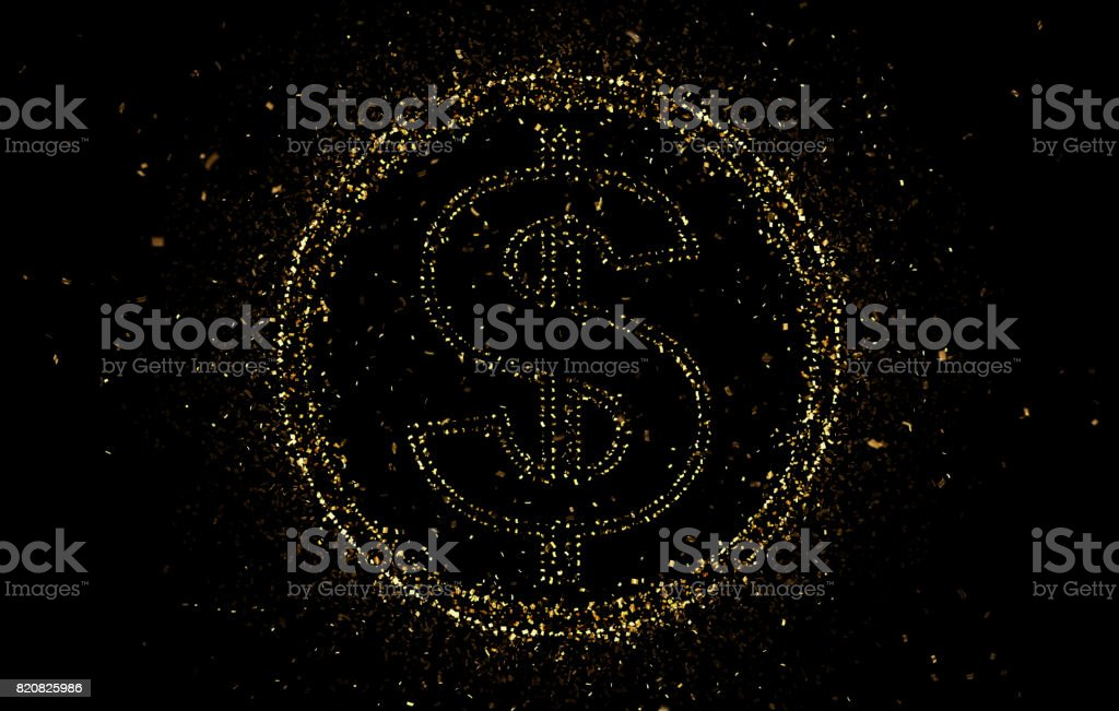 Gold dollar sign with confetti stock photo