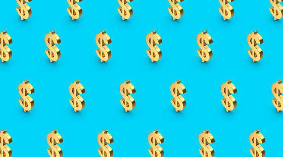 3D gold dollar symbol objects in pattern order on vibrant or pastel color background. Produced with photoshop and 3D software.
