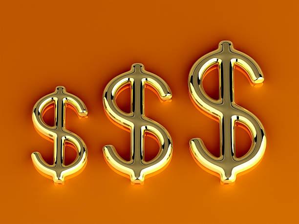 Gold Dollar Symbol stock photo