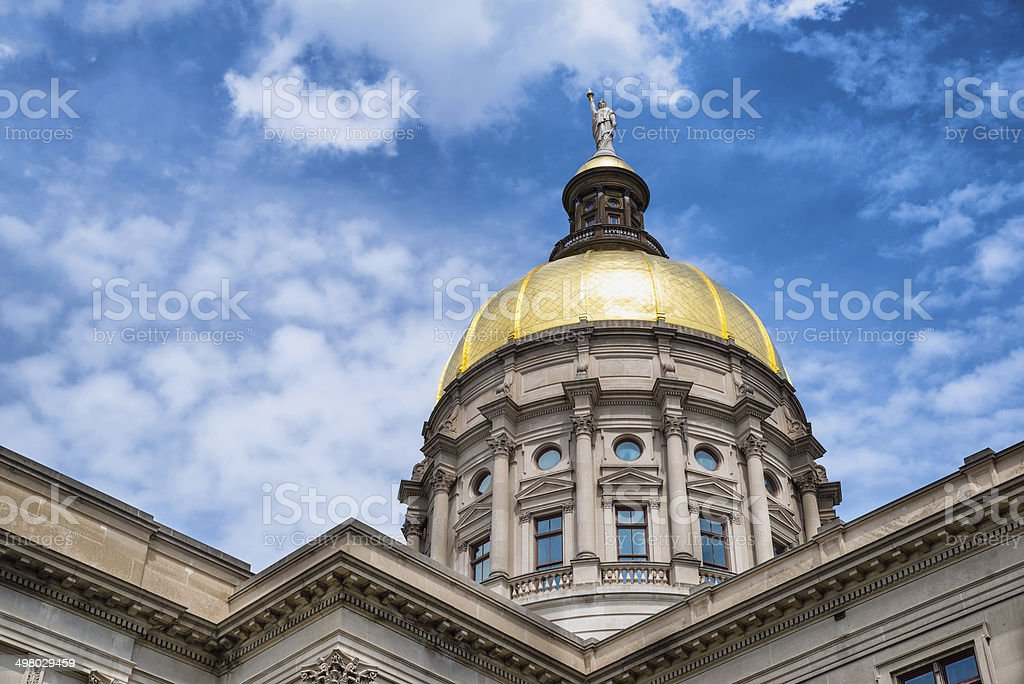 Gold dome of Georgia Capitol in Atlanta stock photo