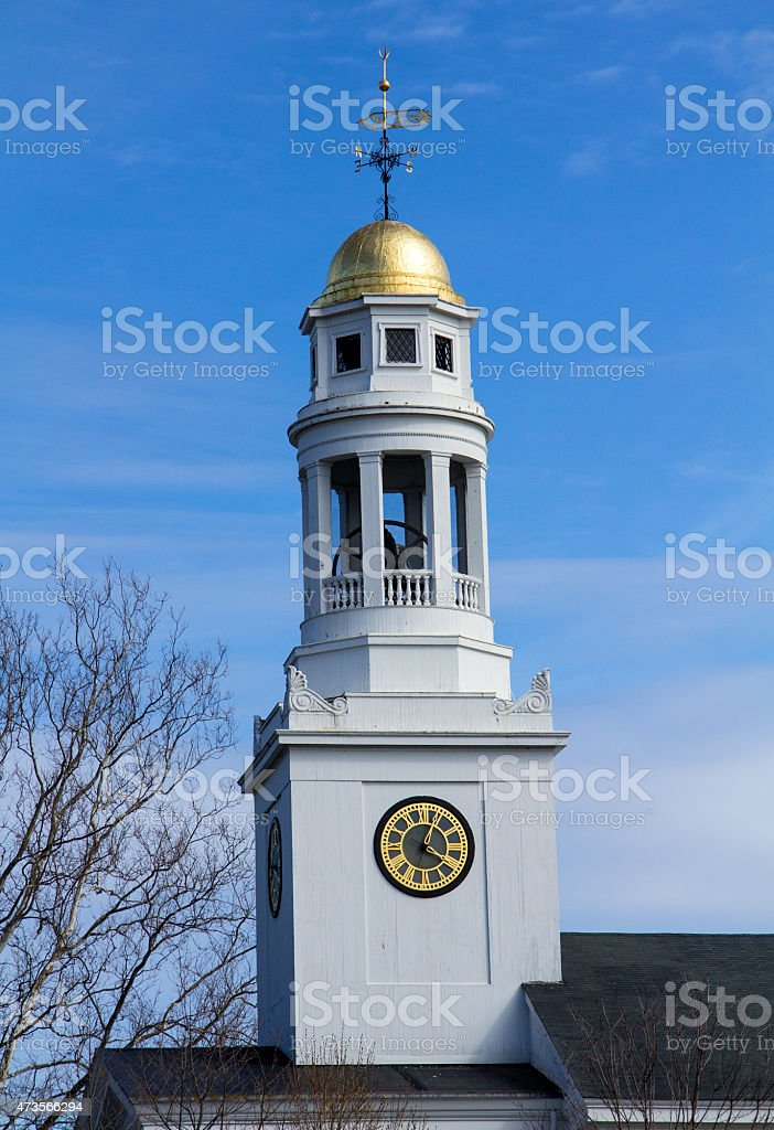 Gold dome of the First Parish Meetinghouse in Concord, Massachus stock photo