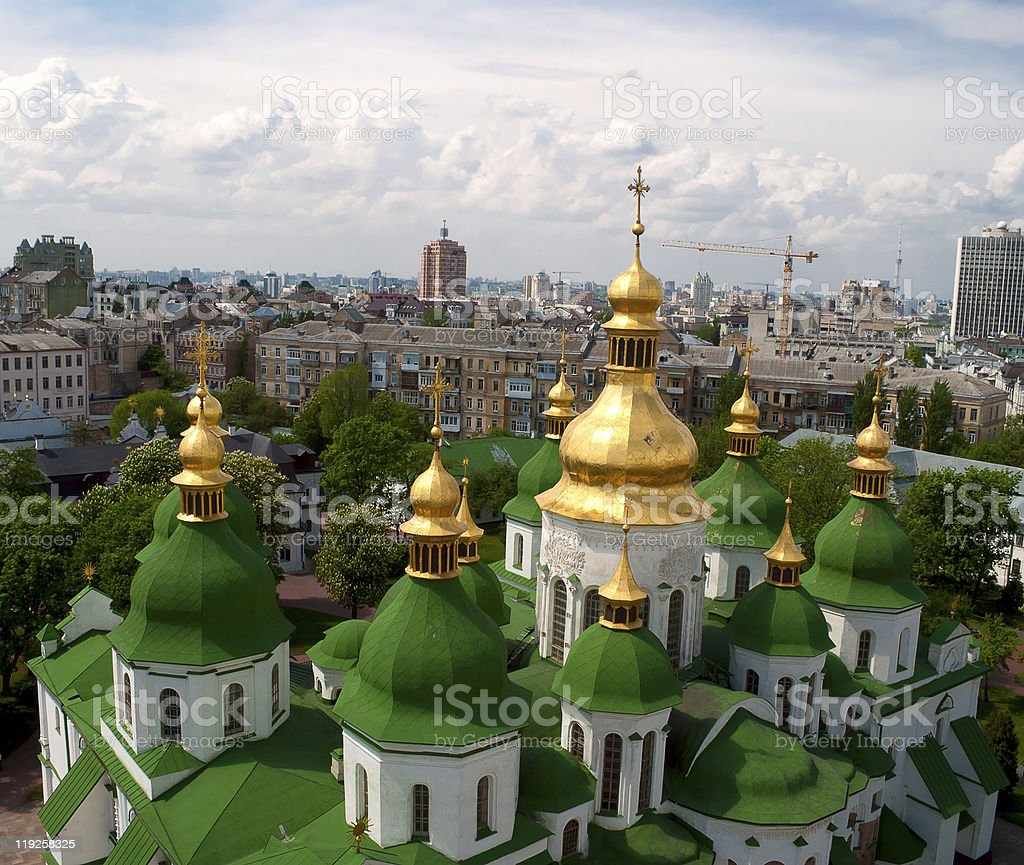 Gold domes of Saint Sophia Cathedral in Kyiv stock photo
